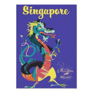 Vintages Reiseplakat Singapur-Drachen Karte