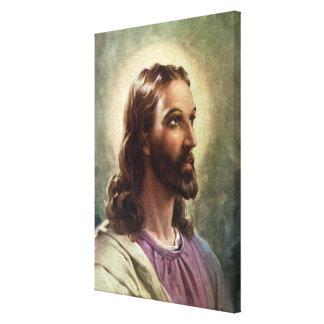Vintages religiöses Porträt, Jesus Christus mit Leinwanddruck