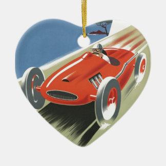 Vintages Rennen Cote d Azur Keramik Herz-Ornament
