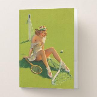 Vintages Retro Gil Elvgren Tennispinup-Mädchen Bewerbungsmappe
