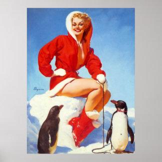 Vintages Retro Gil Elvgren WeihnachtsButton HERAUF Poster