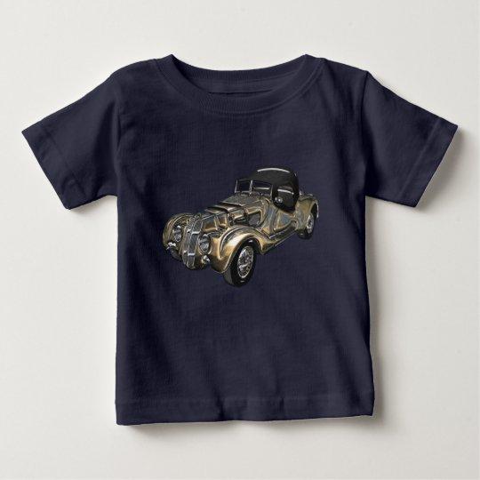 Vintages Retro goldenes blaues funkelndes Auto Baby T-shirt