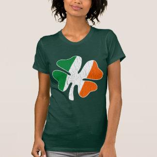 Vintages Retro irisches Flaggen-Kleeblatt T-Shirt