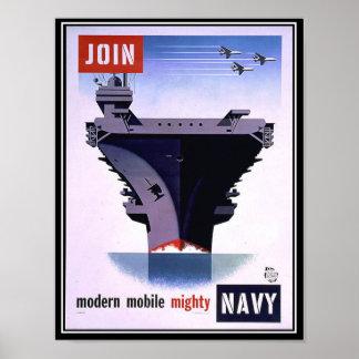 Vintages Retro Plakat verbinden die Marine