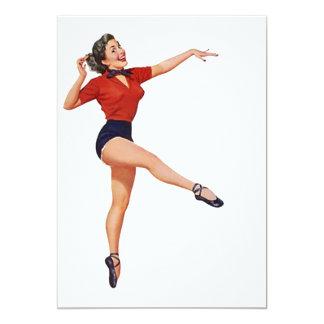 Vintages Retro Tritt-Spaß-Party, das freien Raum 12,7 X 17,8 Cm Einladungskarte