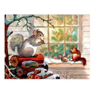 Vintages retro Weihnachten squirrels Postkarte