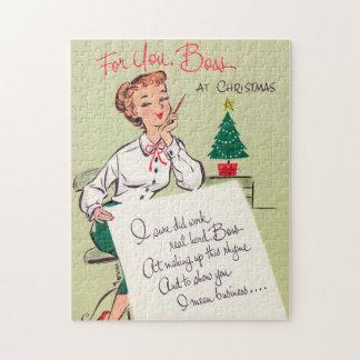 Vintages retro Weihnachtschef-Kartenpuzzlespiel