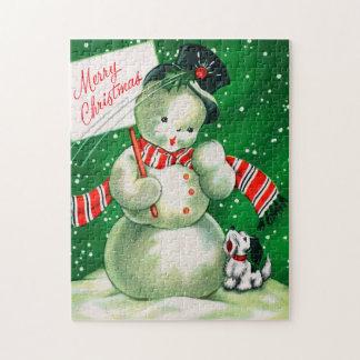 Vintages retro Weihnachtssnowman-Kartenpuzzlespiel