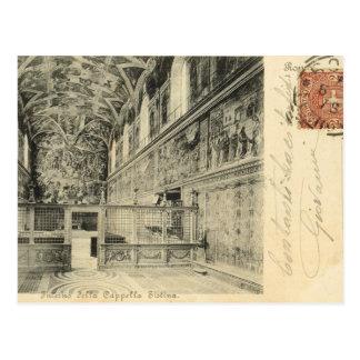 Vintages Rom, 1890, Sistine Kapellen-Innenraum Postkarte