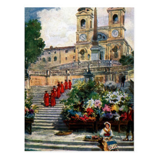 Vintages Romwatercolor Trinita dei Monti Postkarte