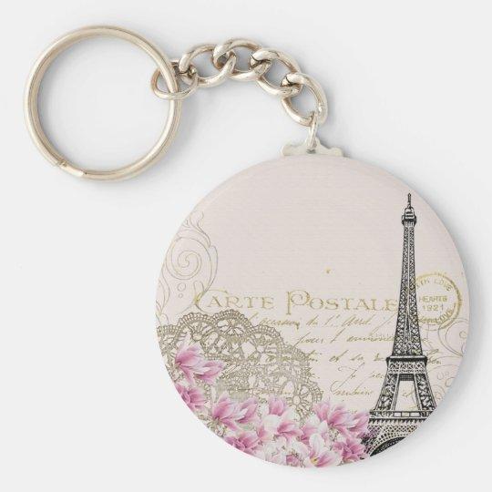 Vintages rosa Blumen, hina Muster-Eiffel-Turm Standard Runder Schlüsselanhänger