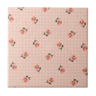 Vintages rosa Blumen- und Punkte Kleine Quadratische Fliese