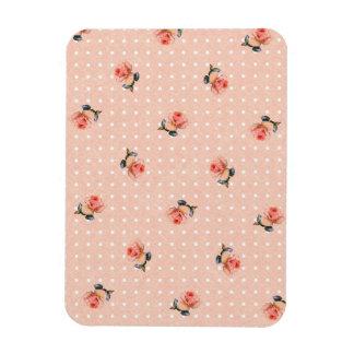 Vintages rosa Blumen- und Punkte Magnet
