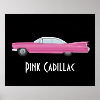 Vintages rosa Cadillac mit schwarzem Hintergrund Poster