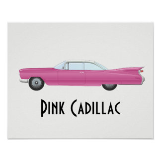 Vintages rosa Cadillac Poster