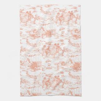 Vintages rosa Franzosen Toile Küchen-Tuch Handtücher