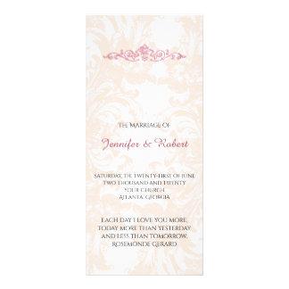 Vintages rosa Pfingstrosen-Hochzeits-Programm Werbekarten