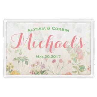 Vintages rosa romantisches Hochzeits-Paar-mit Acryl Tablett