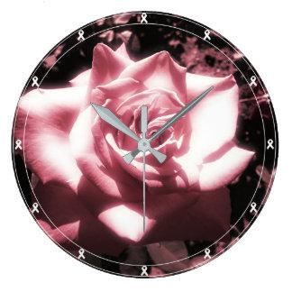 Vintages rosa Rosen-Weiß-Band Große Wanduhr