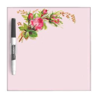 Vintages rosa Rosenmarkierungsbrett Whiteboards