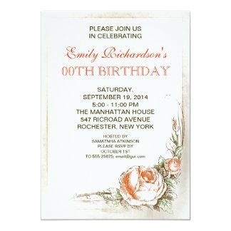 Vintages Rosengeburtstags-Party 12,7 X 17,8 Cm Einladungskarte
