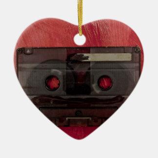 Vintages Rot der Kassettenband-Musik Keramik Herz-Ornament