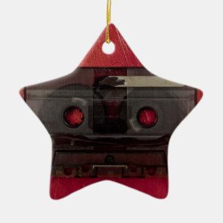 Vintages Rot der Kassettenband-Musik Keramik Stern-Ornament