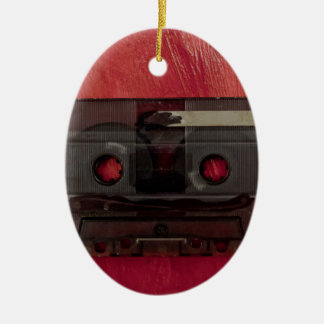 Vintages Rot der Kassettenband-Musik Ovales Keramik Ornament