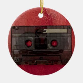 Vintages Rot der Kassettenband-Musik Rundes Keramik Ornament