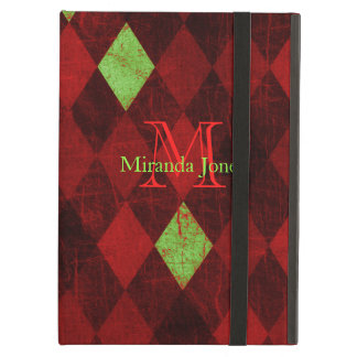 Vintages rotes Golddiamant-Muster-Monogramm
