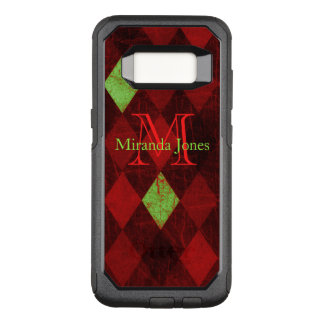 Vintages rotes Golddiamant-Muster-Monogramm OtterBox Commuter Samsung Galaxy S8 Hülle