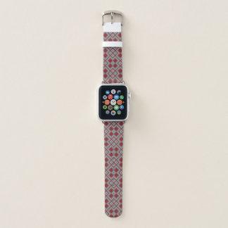 Vintages rotes und graues geometrisches abstraktes apple watch armband