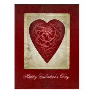 Vintages rotes Valentine-Herz mit Blumen-Postkarte Postkarte