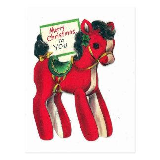 Vintages rotes Weihnachtspony Postkarte