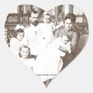 """Vintages russisches Foto """"Imperator Nikolay 2"""" Herz-Aufkleber"""