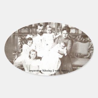 "Vintages russisches Foto ""Imperator Nikolay 2"" Ovaler Aufkleber"