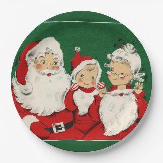 Vintages Sankt-Familien-Weihnachtsabendessen Pappteller