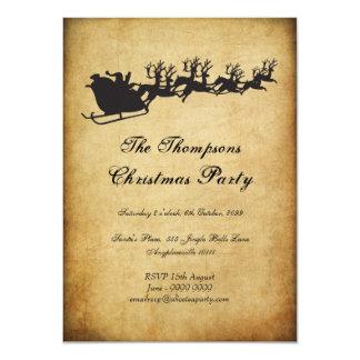 Vintages Sankt Sleigh-Ren-WeihnachtsParty 11,4 X 15,9 Cm Einladungskarte
