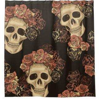 Vintages Schädel-und Rosen-Muster Duschvorhang