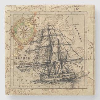 Vintages Schiff und Karte Steinuntersetzer