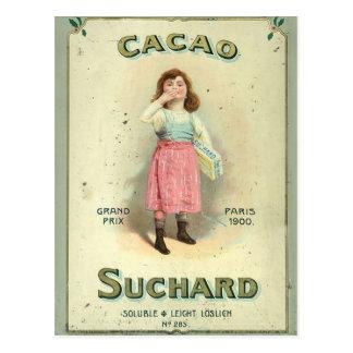 Vintages Schokoladen-Kuss-Mädchen von Frankreich Postkarte