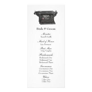 Vintages Schreibmaschinen-Hochzeits-Programm Werbekarte