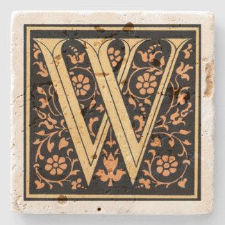 Vintages Schwarz-u. Goldbuchstabe ` W' Steinuntersetzer