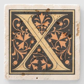 Vintages Schwarz-u. Goldbuchstabe ` X' Steinuntersetzer