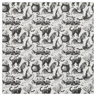 Vintages schwarze Katzen-Kürbis-Muster Halloweens Stoff