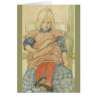 Vintages schwedisches Mädchen auf kariertem Stuhl Karte
