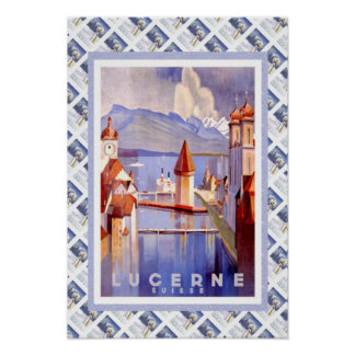 Vintages Schweizer Bahnluzern Luzerne Poster