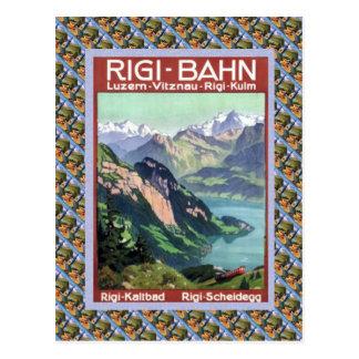 Vintages Schweizer Bahnluzern Rigi Bahn Postkarte