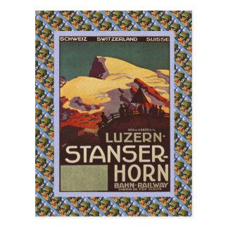 Vintages Schweizer Bahnluzern Stanzerhorn Postkarte