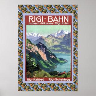 Vintages Schweizer BahnRigi Bahn Poster